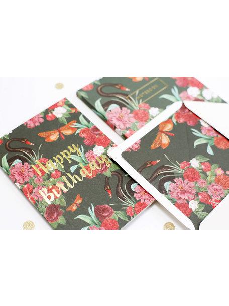 Wild roses Greeting Card - Happy Birthday - per 6