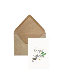 Creative Lab Amsterdam Elephant Grass Greeting Card - Zebra Happy Birthday - per 6