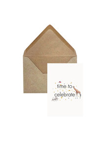Creative Lab Amsterdam Elephant Grass Greeting Card - Time to Celebrate - per 6