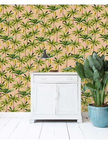 Golden Bananas Pink Wallpaper