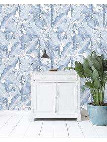 Banana Leaves Watercolor Blue Wallpaper