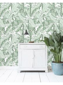 Banana Leaves Watercolor Green Wallpaper