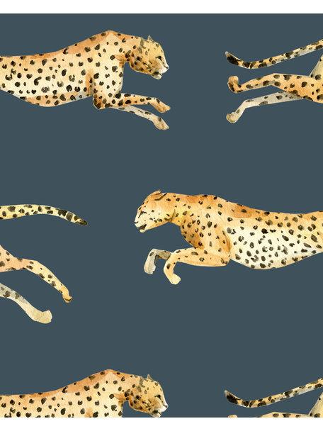 Creative Lab Amsterdam Leopard Bathroom Wallpaper Blue