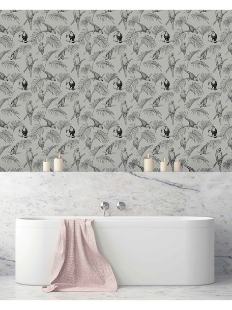 Creative Lab Amsterdam Tropic Tucan Bathroom Wallpaper Taupe