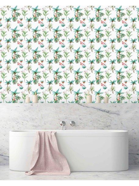 Creative Lab Amsterdam Flamingo Palm Bathroom Wallpaper