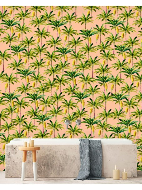 Golden Bananas Pink Wallpaper