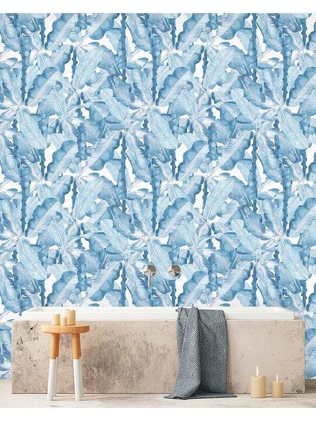 Creative Lab Amsterdam Banana Leaves Watercolour bathroom Wallpaper Blue