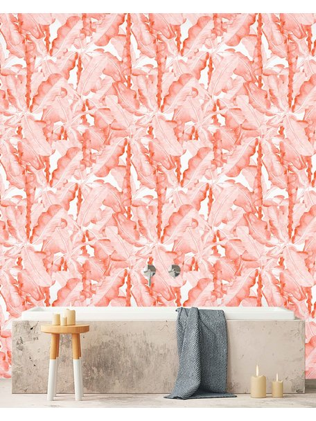 Creative Lab Amsterdam Banana Leaves Watercolour Bathroom Wallpaper Pink