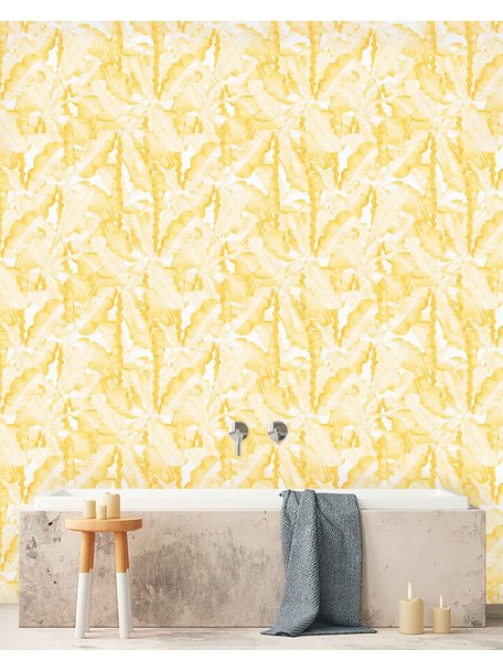 Creative Lab Amsterdam Banana Leaves Watercolour Bathroom Wallpaper Yellow