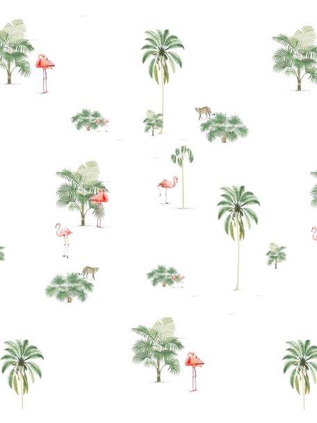Creative Lab Amsterdam Flamingo & Tiger Bathroom Wallpaper