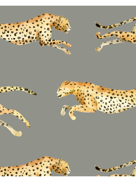 Creative Lab Amsterdam Leopard Bathroom Wallpaper Grey