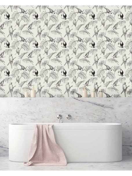 Creative Lab Amsterdam Tropic Tucan Bathroom Wallpaper Cream