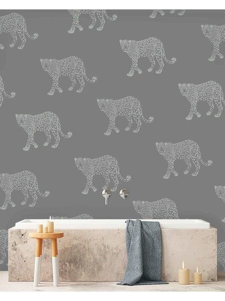 Creative Lab Amsterdam Panther Bathroom Wallpaper Grey