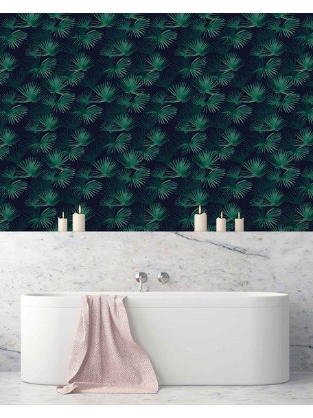 Creative Lab Amsterdam Palm Leaves Dark Green bathroom Wallpaper