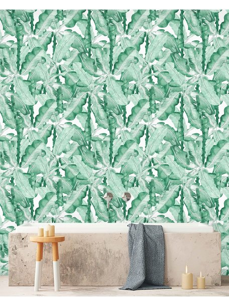 Banana Leaves Watercolor Green Wallpaper