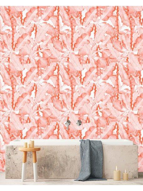 Creative Lab Amsterdam Banana Leaves Watercolour Bathroom Wallpaper Pink