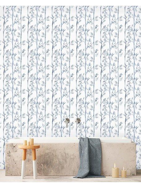 Bamboo White & Blue Wallpaper