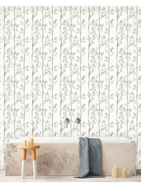 Creative Lab Amsterdam Bamboo Bathroom Wallpaper Grey