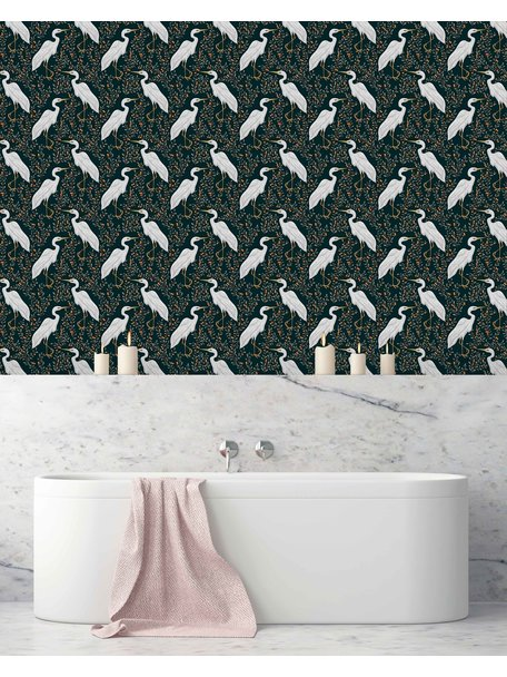 Creative Lab Amsterdam White Heron Bathroom Wallpaper Dark
