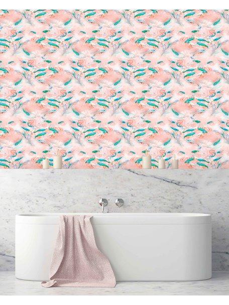 Creative Lab Amsterdam Fishes Bathroom Wallpaper Pink