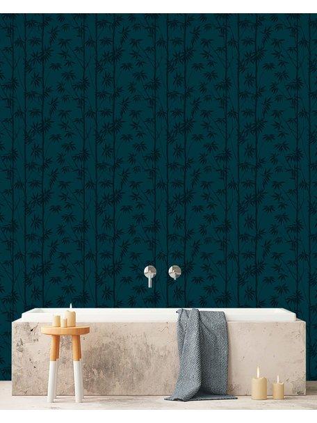 Creative Lab Amsterdam Bamboo Bathroom Wallpaper Blue