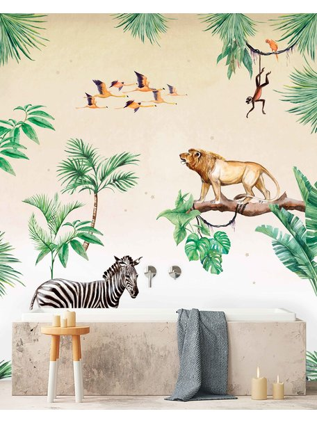 Creative Lab Amsterdam King of the Jungle Bathroom Wallpaper setting