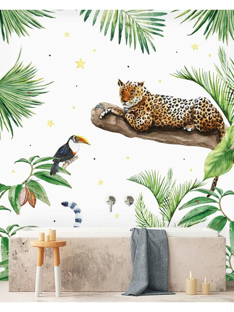 Creative Lab Amsterdam Jungle Tiger Bathroom Wallpaper setting