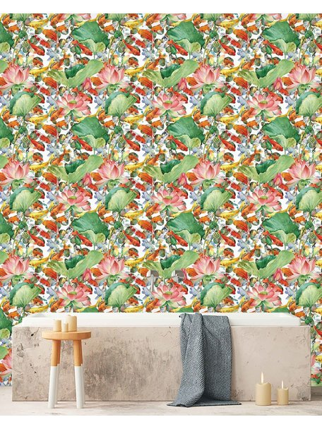 Creative Lab Amsterdam Lily Fishes Bathroom Wallpaper