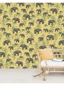 Creative Lab Amsterdam Oscar the Elephant Yellow Wallpaper Mural