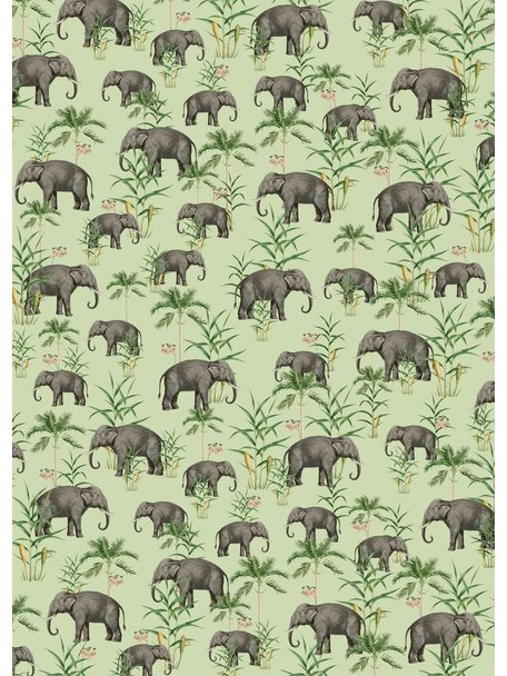 Creative Lab Amsterdam Oscar the Elephant Green Bathroom Wallpaper