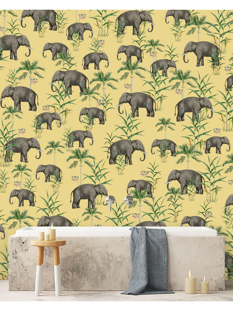 Creative Lab Amsterdam Oscar the Elephant Yellow Bathroom Wallpaper