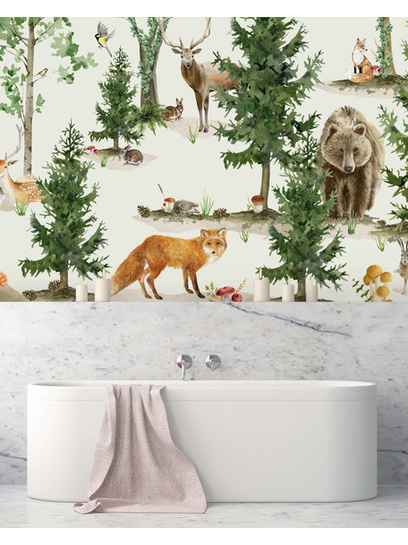 Creative Lab Amsterdam Forest Life Bathroom Wallpaper