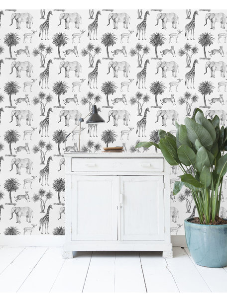 Creative Lab Amsterdam Savanna Black & White Wallpaper