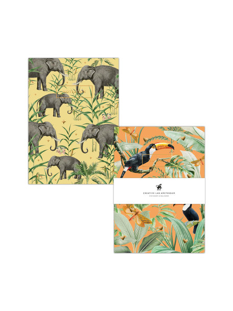 Creative Lab Amsterdam Flirting Toucans /Oscar the Elephant notebook set - per 6