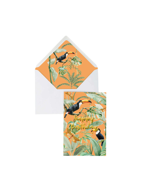 Creative Lab Amsterdam Flirting Toucans Greeting Card - Happy Birthday - per 6