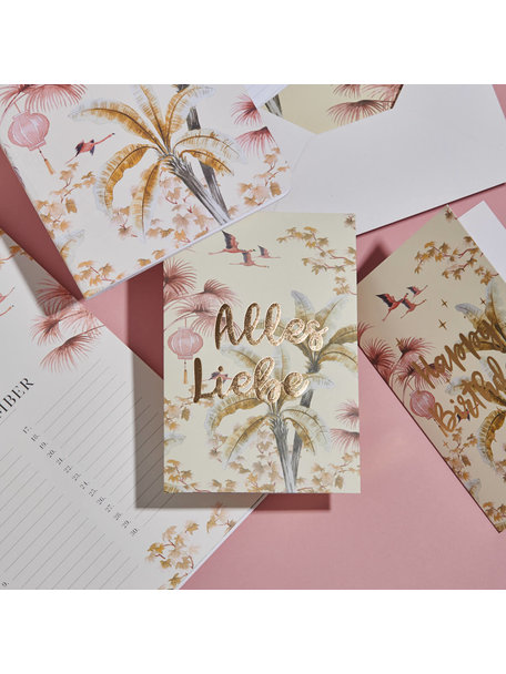 Creative Lab Amsterdam Oriental Flamingo Flight Greeting Card - Alles Liebe- per 6