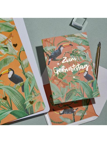 Creative Lab Amsterdam Flirting Toucans Greeting Card - Alles Gute zum Geburtstag - per 6