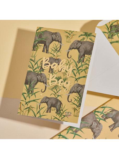 Creative Lab Amsterdam Oscar the Elephant Greeting Card -Baby - per 6