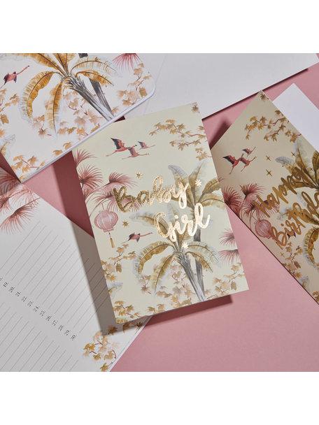 Creative Lab Amsterdam Oriental Flamingo Flight Greeting Card - Baby - per 6