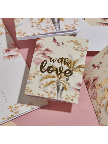 Creative Lab Amsterdam Oriental Flamingo Flight Greeting Card - With Love - per 6