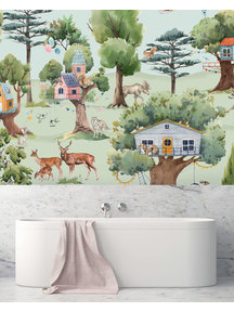 Creative Lab Amsterdam Treehouse in the Forest Bathroom Wallpaper