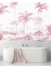 Creative Lab Amsterdam Excotic Palms Pink Bathroom Wallpaper