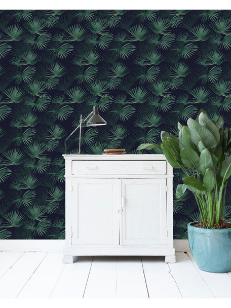 Creative Lab Amsterdam Palm Leaves Dark Green Wallpaper on roll