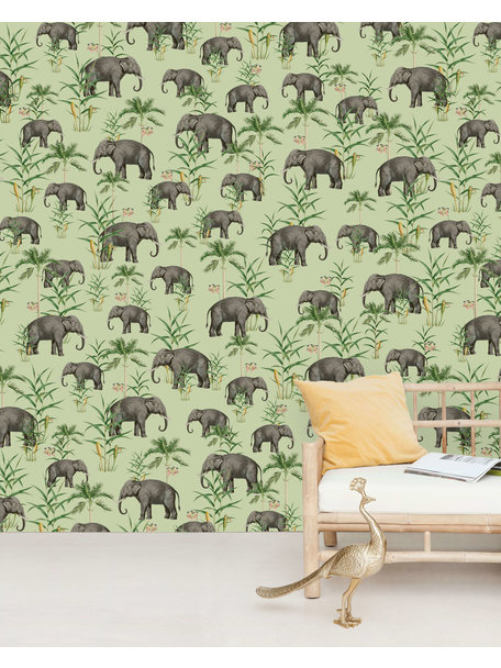 Creative Lab Amsterdam Oscar the Elephant Green Wallpaper Mural