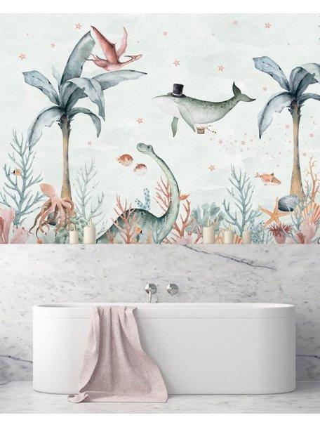 Creative Lab Amsterdam Flying Whale Bathroom Wallpaper