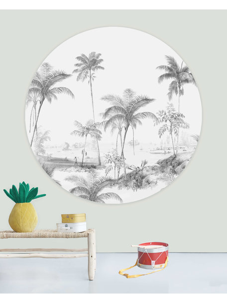 Creative Lab Amsterdam Exotic palms  Black & White Wallpaper Circle