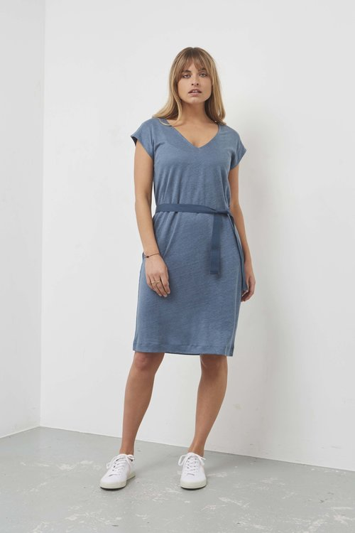 By Bar Sofia Linen Dress Deep ocean