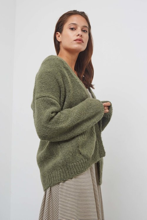 Knit-ted Bernelle Cardigan Dark Green
