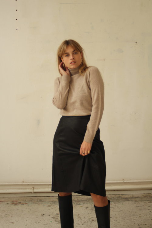 Marla Midi Leather Skirt