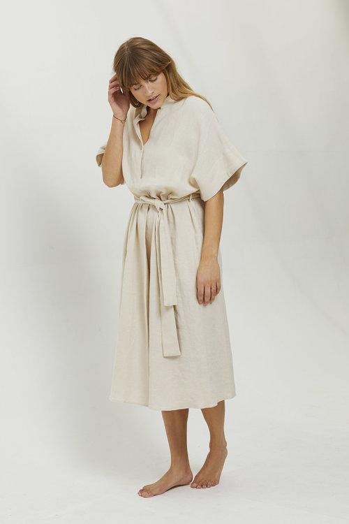 7115 Mandarin V-neck Dress